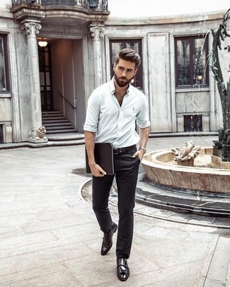 How to Wear Dark Brown Leather Double Monks: This combo of a white long sleeve shirt and black chinos is an obvious choice for when it's time to go off-duty. To give this getup a dressier vibe, introduce a pair of dark brown leather double monks to the mix.