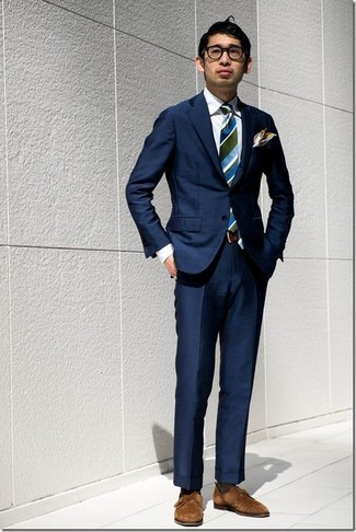 How to wear: blue vertical striped tie, brown suede double monks, navy dress pants, navy blazer