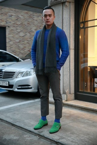 How to wear: charcoal scarf, green suede double monks, charcoal dress pants, blue crew-neck sweater