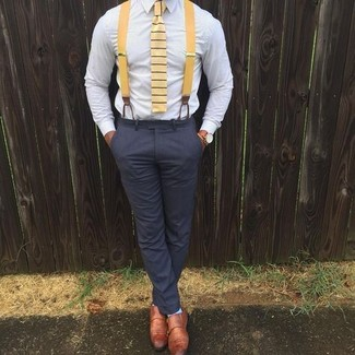 How to wear: yellow horizontal striped tie, tobacco leather double monks, charcoal dress pants, light blue dress shirt