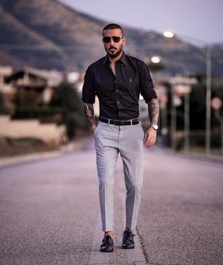 How to wear: black leather belt, black leather double monks, grey dress pants, black long sleeve shirt