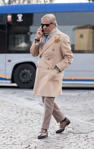 How to wear: light blue plaid scarf, brown leather double monks, beige check dress pants, beige overcoat