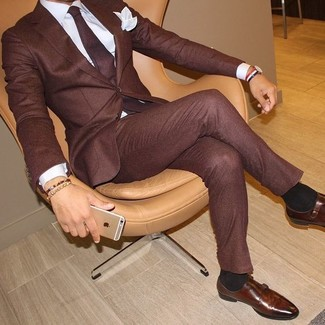 How to wear: burgundy tie, brown leather double monks, white dress shirt, burgundy suit