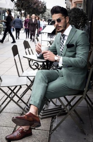 How to wear: mint plaid tie, brown leather double monks, white dress shirt, mint suit