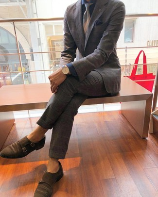 How to wear: grey horizontal striped tie, brown suede double monks, navy chambray dress shirt, grey plaid suit