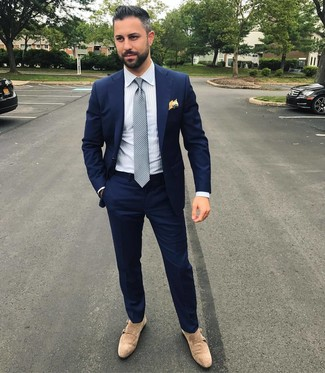 How to wear: grey polka dot tie, beige suede double monks, white vertical striped dress shirt, navy suit