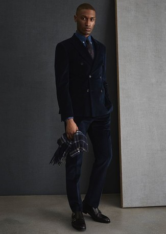 How to Wear a Blue Dress Shirt For Men: For an outfit that's absolutely gasp-worthy, pair a blue dress shirt with a navy suit. Go ahead and complement your look with black leather double monks for a more relaxed finish.