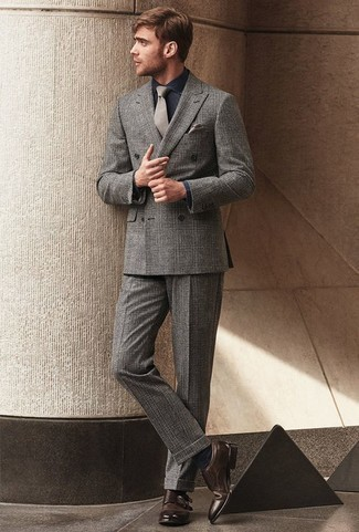 How to Wear Dark Brown Leather Double Monks: A grey plaid suit looks especially classy when paired with a navy chambray dress shirt for an outfit worthy of a modern gentleman. A pair of dark brown leather double monks is a good pick to finish this look.