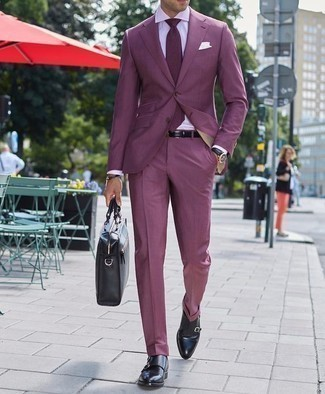 How to Wear a Violet Suit: For an ensemble that's truly camera-worthy, choose a violet suit and a white dress shirt. To give your overall look a more laid-back vibe, round off with a pair of black leather double monks.
