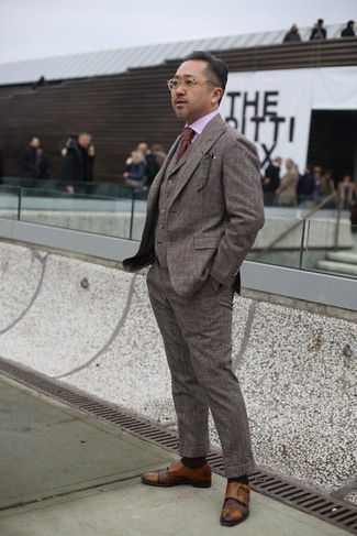 How to wear: brown tie, brown leather double monks, pink dress shirt, brown check wool three piece suit