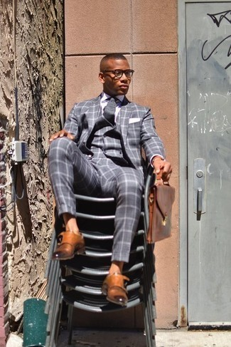 How to Wear a Brown Leather Briefcase: If you like relaxed casual style, why not take this combination of a grey check three piece suit and a brown leather briefcase for a spin? Infuse some extra elegance into this look by wearing tobacco leather double monks.