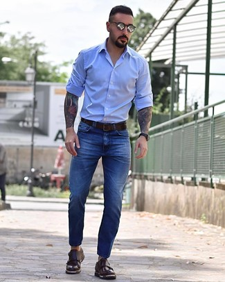 How to wear: dark brown leather belt, dark brown leather double monks, blue jeans, light blue long sleeve shirt