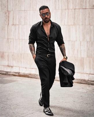 How to wear: black leather belt, black leather double monks, black long sleeve shirt, black suit