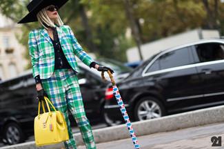 How to wear: yellow leather satchel bag, green plaid dress pants, green plaid blazer, black cardigan