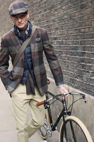 How to wear: brown plaid flat cap, beige dress pants, brown plaid wool blazer, navy quilted gilet