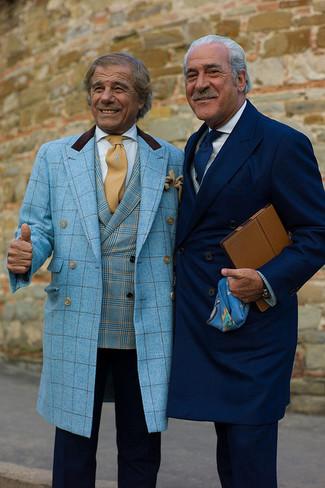 How to wear: tan tie, navy dress pants, aquamarine plaid blazer, aquamarine plaid overcoat