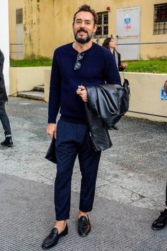 How to Wear Black Leather Tassel Loafers: As you can see, it doesn't take that much time for a man to look sharp. Rock a black leather biker jacket with navy dress pants and you'll look incredibly stylish. Give a classier twist to an otherwise all-too-common outfit by sporting black leather tassel loafers.