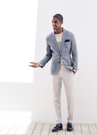 How to wear: navy leather tassel loafers, beige linen dress pants, beige horizontal striped crew-neck sweater, blue linen blazer
