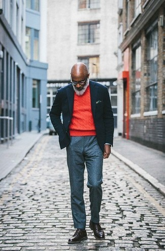 How to wear: dark brown leather casual boots, grey wool dress pants, orange crew-neck sweater, black wool blazer