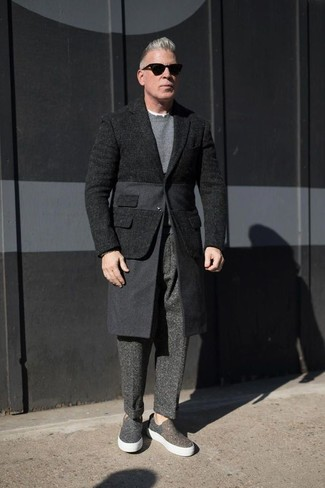 How to wear: charcoal canvas slip-on sneakers, charcoal wool dress pants, grey crew-neck sweater, black wool blazer