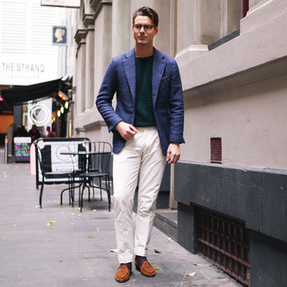 How to wear: tobacco suede loafers, white dress pants, dark green crew-neck sweater, navy plaid blazer