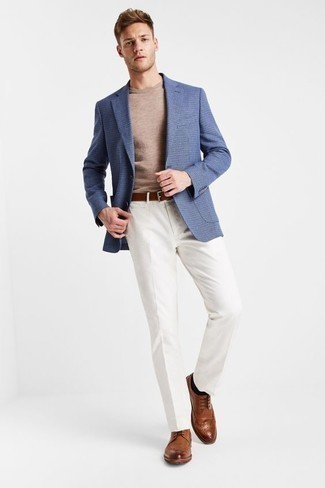 How to Wear a Blue Blazer For Men: You're looking at the irrefutable proof that a blue blazer and white dress pants look amazing when paired up in an elegant ensemble for a modern gentleman. When this outfit appears all-too-polished, dress it down by wearing brown leather brogues.