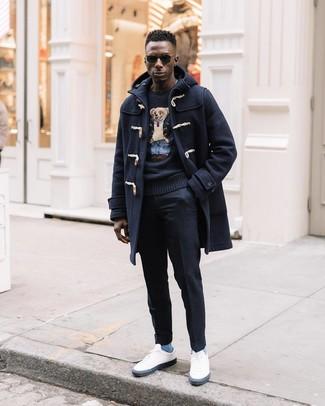 How to wear: white low top sneakers, black wool dress pants, black print crew-neck sweater, navy duffle coat