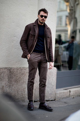 How to wear: dark purple leather double monks, brown vertical striped dress pants, navy crew-neck sweater, dark brown suede field jacket