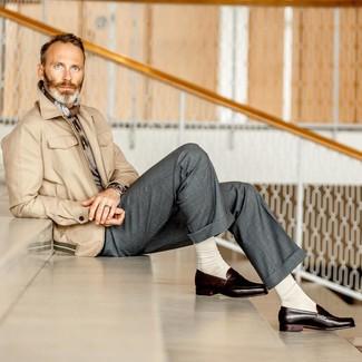 How to wear: dark brown leather loafers, grey dress pants, grey crew-neck sweater, beige field jacket