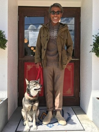 How to wear: beige suede chelsea boots, brown wool dress pants, brown fair isle crew-neck sweater, olive military jacket