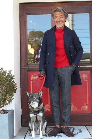 How to wear: dark brown suede oxford shoes, charcoal wool dress pants, red crew-neck sweater, navy overcoat