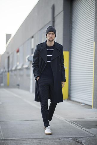 How to Wear a Black Overcoat: To look neat and classic, consider pairing a black overcoat with black check dress pants. Dial up the appeal of this outfit by rocking a pair of white leather low top sneakers.