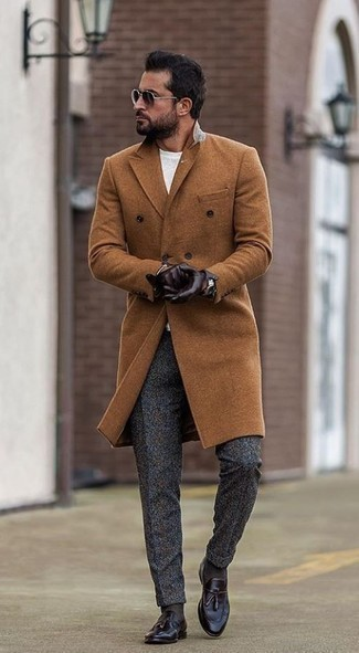 How to Wear Charcoal Wool Dress Pants For Men: This combination of a tobacco overcoat and charcoal wool dress pants is a winning option when you need to look like a British gentleman. Introduce dark purple leather tassel loafers to the mix to make a sober ensemble feel suddenly fun and fresh.