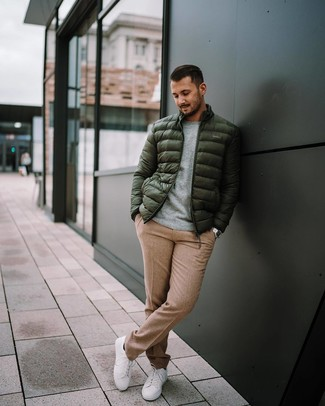 How to wear: white low top sneakers, khaki wool dress pants, grey crew-neck sweater, dark green puffer jacket