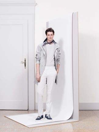 How to wear: navy low top sneakers, white dress pants, white crew-neck sweater, grey raincoat