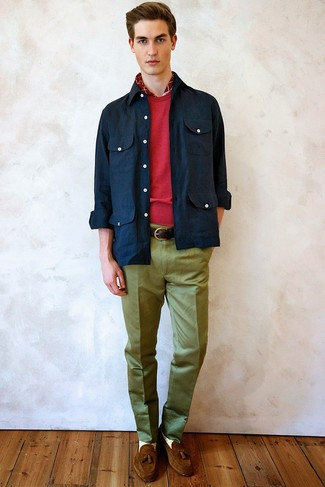How to wear: brown suede tassel loafers, olive dress pants, red crew-neck sweater, navy shirt jacket
