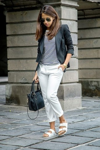 How to wear: white leather flat sandals, white dress pants, white and black horizontal striped crew-neck t-shirt, charcoal blazer