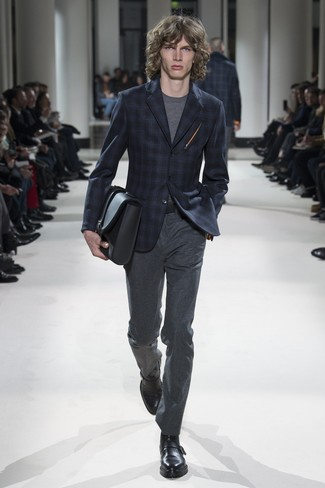 How to wear: black leather monks, charcoal wool dress pants, grey crew-neck t-shirt, navy plaid blazer