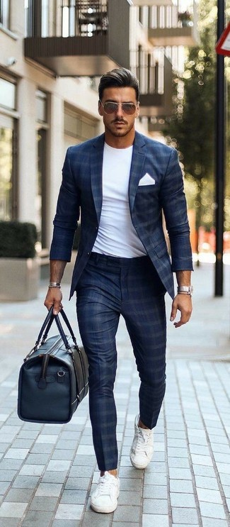 How to wear: white canvas low top sneakers, navy check dress pants, white crew-neck t-shirt, navy check blazer