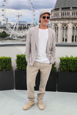 How to wear: tan suede derby shoes, beige linen dress pants, white crew-neck t-shirt, grey linen blazer