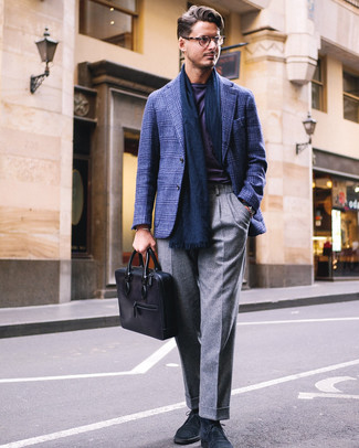 How to wear: navy suede desert boots, grey wool dress pants, violet crew-neck t-shirt, navy plaid blazer