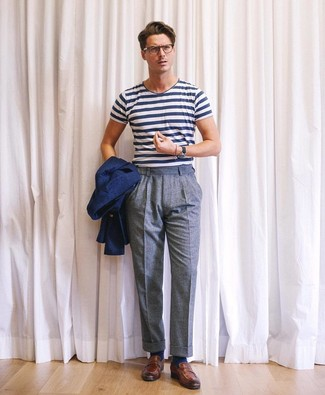 How to wear: brown leather loafers, blue wool dress pants, white and navy horizontal striped crew-neck t-shirt, navy blazer