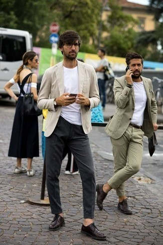 How to Wear Burgundy Leather Derby Shoes: Putting together a beige blazer with charcoal dress pants is an on-point option for a dapper and sophisticated look. The whole look comes together when you throw in burgundy leather derby shoes. No doubt, a common option if we're talking fashion for gentlemen over 30.