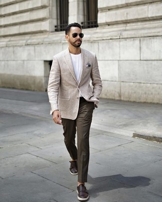 How to Wear Dark Green Sunglasses For Men: If you like street style combinations, then you'll love this combo of a beige blazer and dark green sunglasses. Here's how to dress it up: dark brown leather double monks.