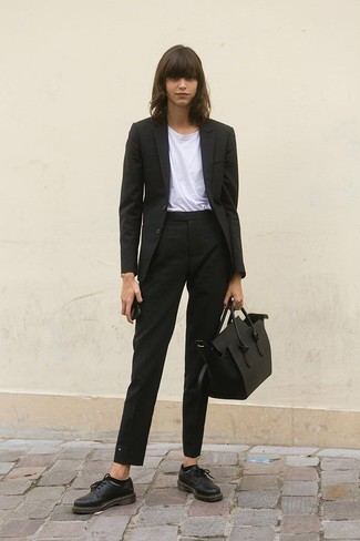How to wear: black leather oxford shoes, black vertical striped dress pants, white crew-neck t-shirt, black vertical striped blazer