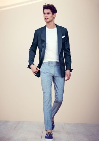 514a3b60e0c6 How To Wear a Navy Blazer With Light Blue Dress Pants For Men (8 ...