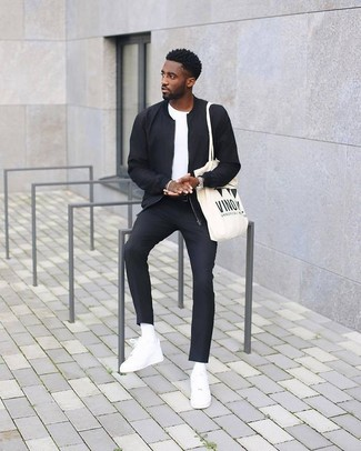 How to wear: white leather low top sneakers, black dress pants, white crew-neck t-shirt, black bomber jacket