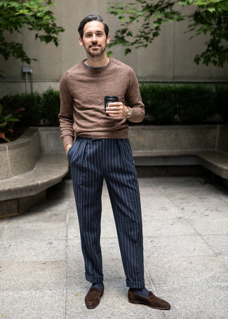 How to Wear Navy Socks For Men: Reaching for something as basic as this modern casual combination of a brown crew-neck sweater and navy socks will set you apart in a good way. Upgrade your outfit with dark brown suede loafers.