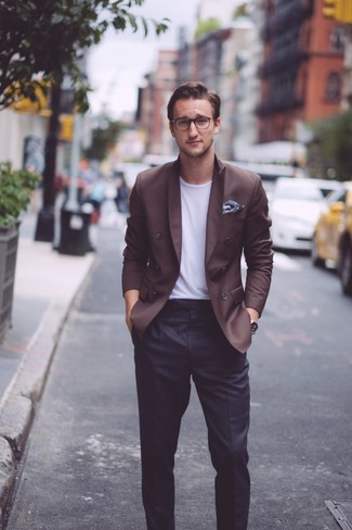 How to wear: navy floral pocket square, black dress pants, white crew-neck t-shirt, dark brown double breasted blazer