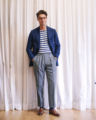 How to wear: brown leather loafers, grey wool dress pants, white and navy horizontal striped crew-neck t-shirt, navy wool double breasted blazer